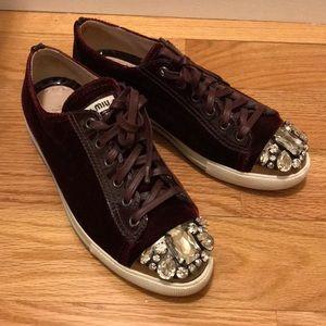 Miu miu burgundy velvet embellished sneakers